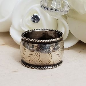 925 Sterling Silver Vintage Etched Wide Band Ring